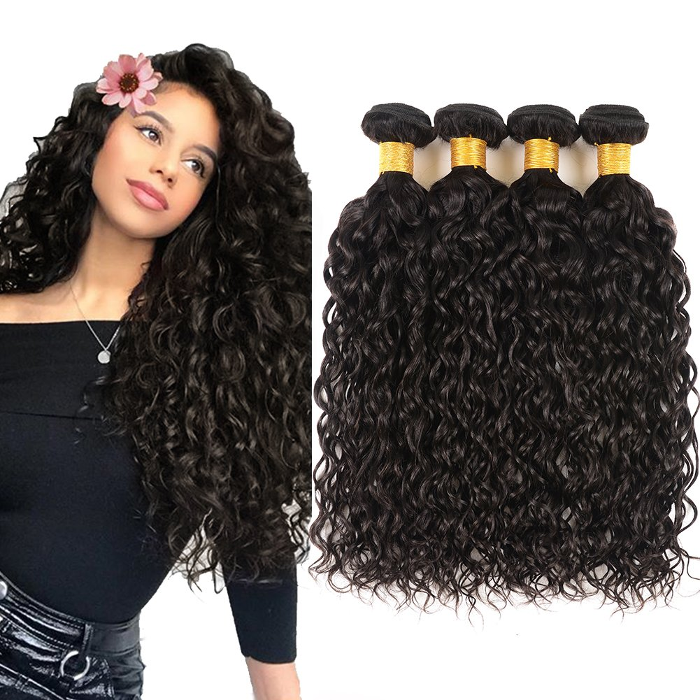 Huarisi 4 Bundles Brazilian Water Wave Virgin Hair 10A Grade 20 22 24 26 Inches Water Curls Weaves 100 Real Human Hair 400G Natural Color for Women