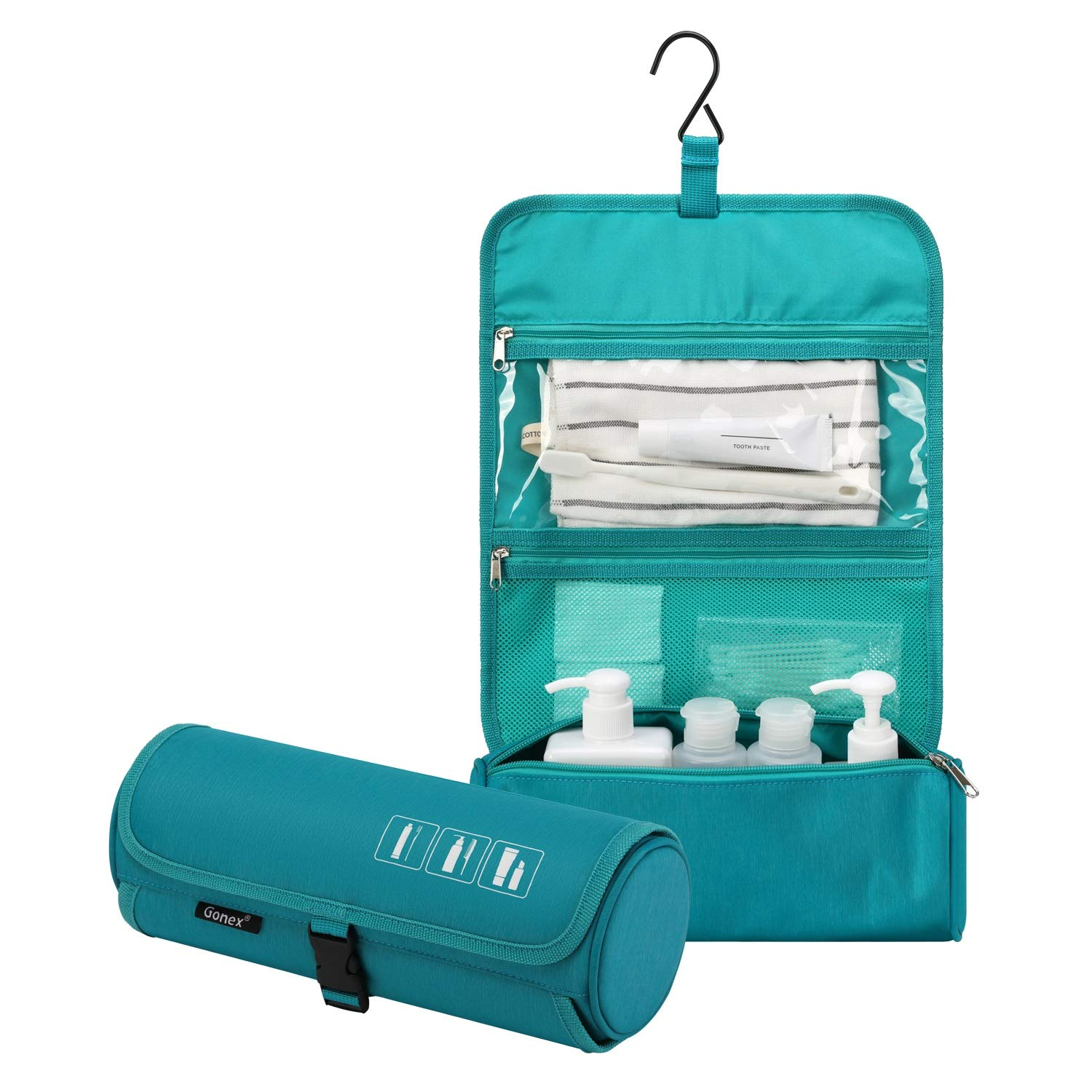 Gonex Hanging Toiletry Bag, Water Resistant Travel Toiletry Organizer Cylinder Makeup Bag for Men & Women with Built-in Hook Blue
