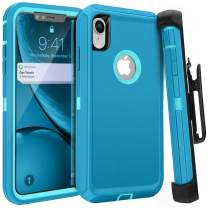 FOGEEK iPhone XR Case, Belt Clip Holster Heavy Duty Kickstand Protective Cover [Dust-Proof] [Shockproof] Compatible for Apple iPhone XR [6.1 inch] (Tea Blue1 / Light Blue2)