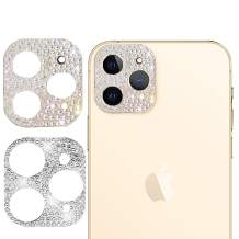[2 Pack] Camera Lens Screen Protector Compatible with iPhone 12 pro 6.1Inch, Bling Glitter Diamond Lens Protective Decoration Sticker (Gold+Silver)