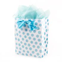 """Hallmark 15"""" Extra Large Gift Bag with Tissue Paper - Blue Polka Dots and Bow for Baby Showers, Birthdays, Bridal Showers and More"""