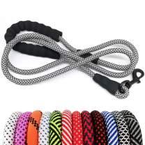 "MayPaw Heavy Duty Rope Dog Leash, 1/2"" x 6FT Nylon Pet Training Leash, Soft Padded Handle Thick Lead Leash for Large Medium Dogs"