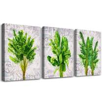 Modern Green Plant Leaves Canvas Wall Art for Bedroom Wall Decorations for Living Room 3 Piece Bathroom Wall Decor Wall Painting Home Decoration Canvas Print Watercolor Painting Poster Artworks
