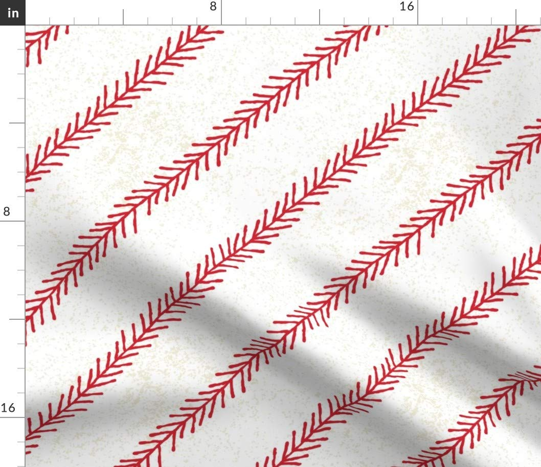 Spoonflower Fabric - Baseball, Stitch, Sport, Ball, Kids, Classic, American, Summer, Game, Printed on Minky Fabric by The Yard - Sewing Baby Blankets Quilt Backing Plush Toys