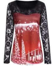 Nicetage Women Christmas Shirt Lace Long Sleeve Patchwork Shirt Christmas Tree Print Blouse Party Costume