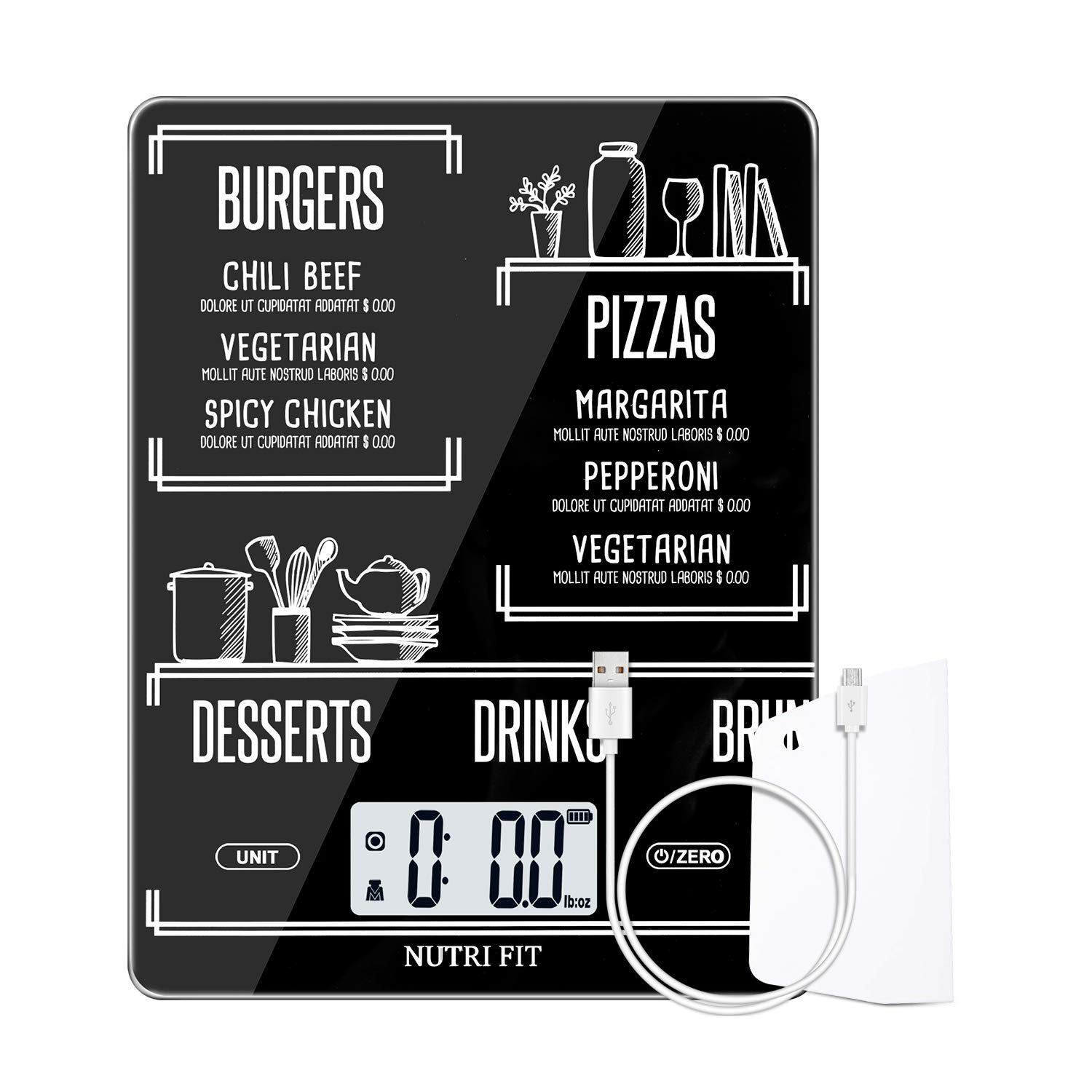 Rechargeable Food Scale Digital Kitchen Scale Multifunction with Dough Scraper by NUTRI FIT, High Accuracy, Portable and Tare Function, 11lb/5kg Baking & Cooking Scale, Black
