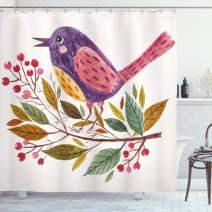 """Ambesonne Leaf Shower Curtain, Watercolor Styled Effect a Bird Sitting on a Branch with Leaves Print, Cloth Fabric Bathroom Decor Set with Hooks, 70"""" Long, Fern Green"""