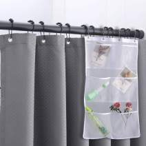 WdFour Premium Heavy Duty Waffle Fabric Shower Curtains for Bathroom with 6 Pockets Mesh Shower Organizer, Metal Grommets Machine Washable Water Repellent Standard Shower Curtain, 72 x 72, Charcoal
