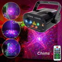 Chims DJ Laser Lights Projector Red Green Laser with LED 80 Patterns RGRB Color Decoration Lighting System for Family Party DJ Disco Bar Club Music Show Xmas Christmas (4 Lens RGRB 80 Patterns)