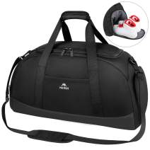 50L Travel Duffel Bag, Foldable Large Travel Duffels with Shoe Compartment and Wet Pocket for Women Men's, Overnight Workout Bag Water Resistant Carryon Weekender Bag with Adjustable Strap, Black