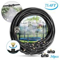 """Innoo Tech Misting Cooling System 75.4FT (23M) Misting Line + 34 Upgrade Brass Mist Nozzles + a Brass Adapter(3/4"""") Outdoor Mister for Patio Garden Greenhouse Trampoline for waterpark"""