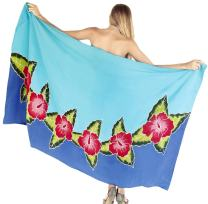 LA LEELA Women's Pareo Swimsuit Beach Swimwear Wrap Bikini Sarong Hand Paint