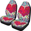 Dreaweet Heart Printed Car Seat Covers 2 pcs Front Seat Cover Full Set with Printed Green Car Seat Protector Bag