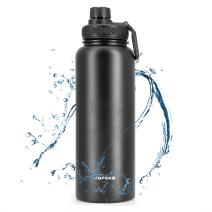TOPOKO Insulated Water Bottle Wide Mouth Leak & Sweat Proof for Hot and Cold Beverages (40oz double twist lid-black)