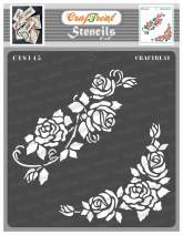 CrafTreat Rose Flower Stencils for Painting on Wood, Canvas, Paper, Fabric, Floor, Wall and Tile - Blushing Roses - 6x6 Inches - Reusable DIY Art and Craft Stencils for Painting Flowers