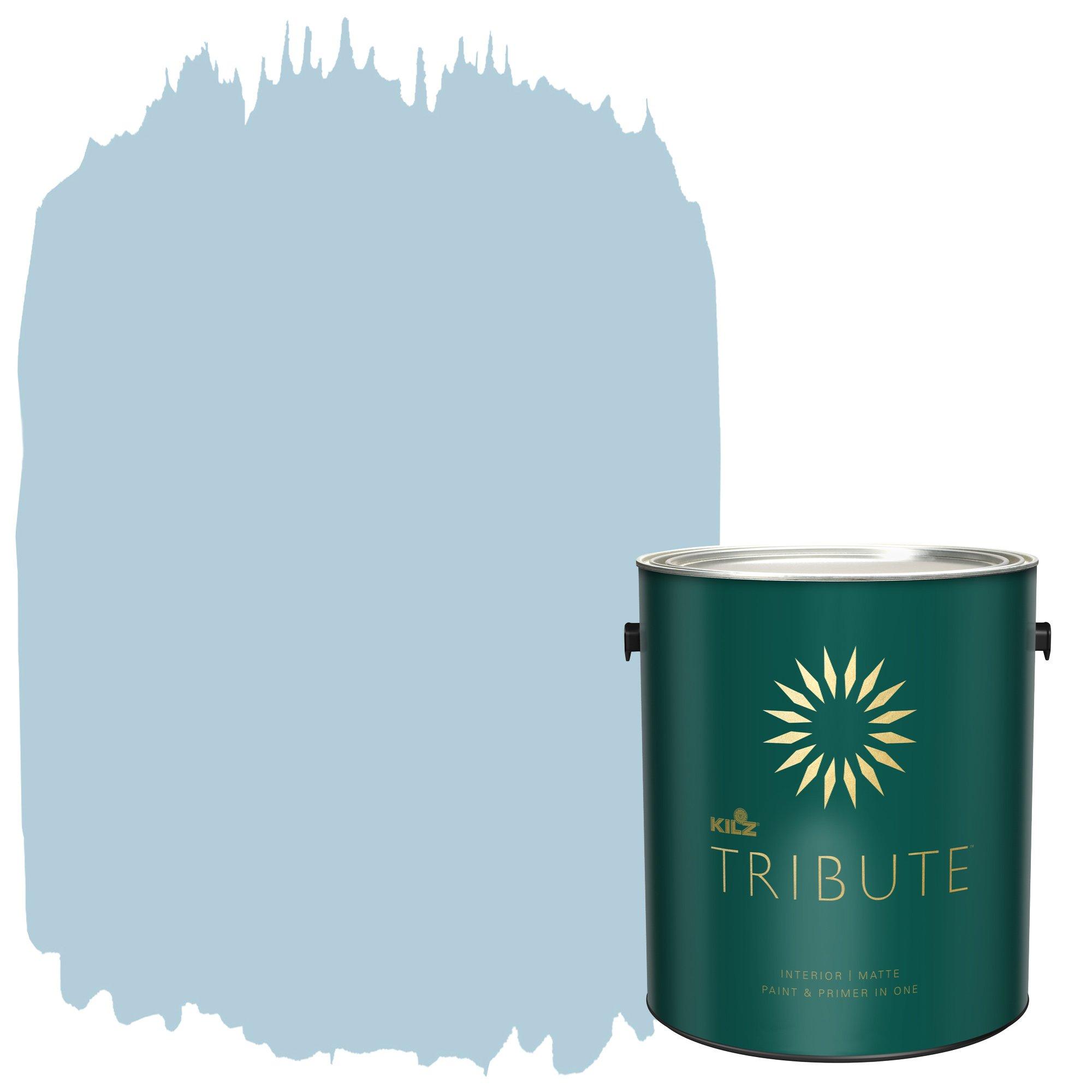 KILZ TRIBUTE Interior Matte Paint and Primer in One, 1 Gallon, Mountain Stream (TB-44)