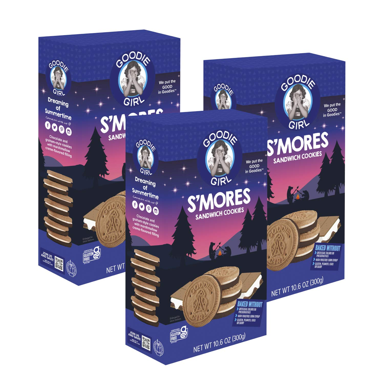 Goodie Girl, Smores Sandwich Cookies | Gluten Free | Peanut Free | Egg Free | Dairy Free | Vegan | No High Fructose Corn Syrup | Kosher (10.6oz, Pack of 3)