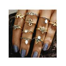 Drecode Vintage Turtle Starfish Knuckle Ring Set Crystal Hollow Carved Flower Midi Finger Rings Stackable Ring for Women Girls(10Pcs) (Gold)