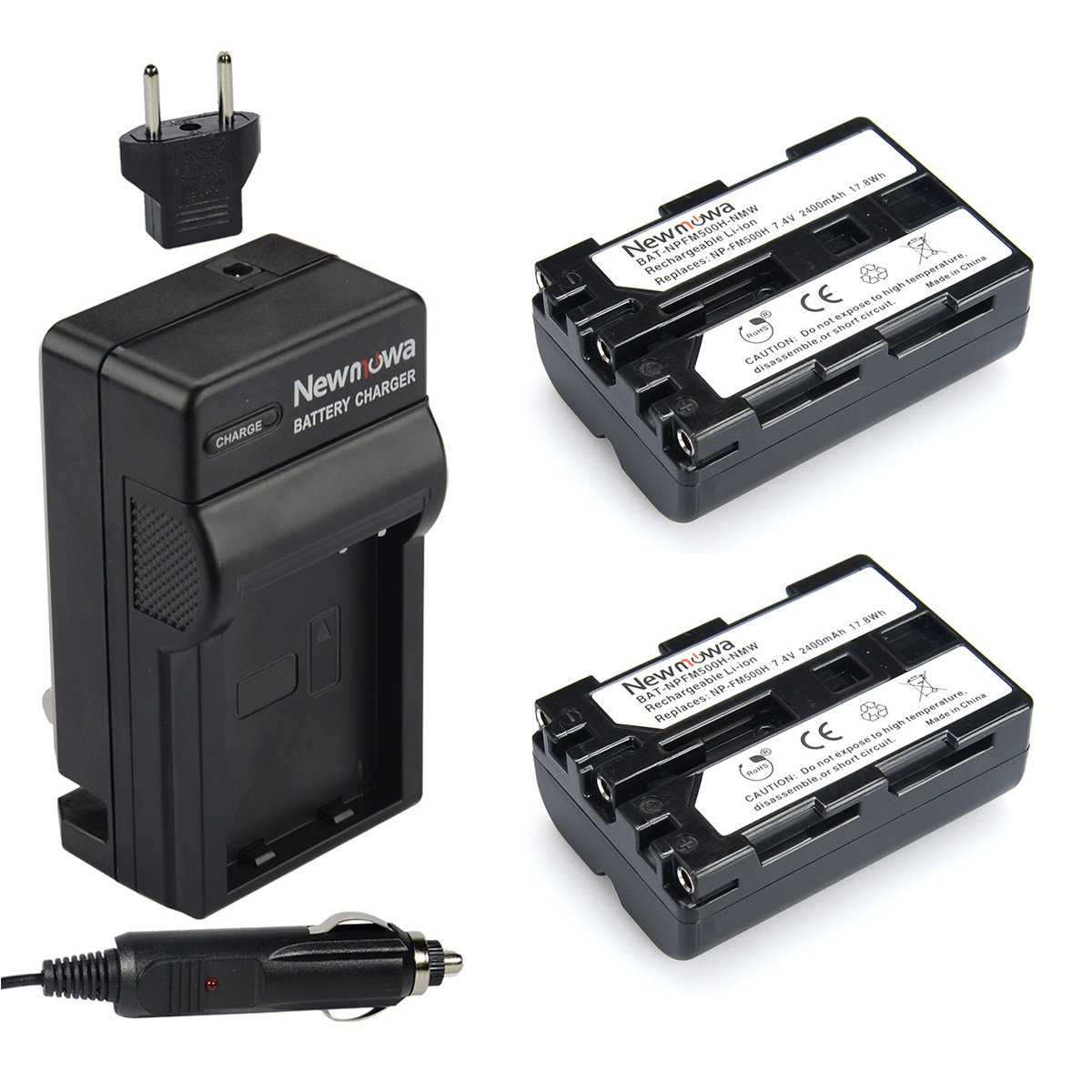 Newmowa NP-FM500H Replacement Battery (2-Pack) and Charger Kit for Sony Alpha A57 A58 A65 A77 A99 A500 A550 A560 A580 A700 A850 A900 Sony SLT a99 II