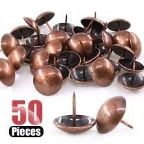 Hilitchi 50-Pieces 30mm Antique Red Copper Tacks Bronze Nail Pins Upholstery Nail Tacks Furniture Thumb Tack Pins Assortment Kit