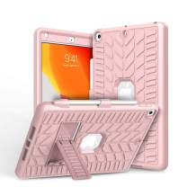 iPad 7th Generation Case, iPad 10.2 2019 Case, Elegant Choise iPad 7th Generation 10.2-inch Case with Pencil Holder Heavy Duty Shockproof Kickstand Protective Cover for A2200 A2197 A2198 (Rose Gold)
