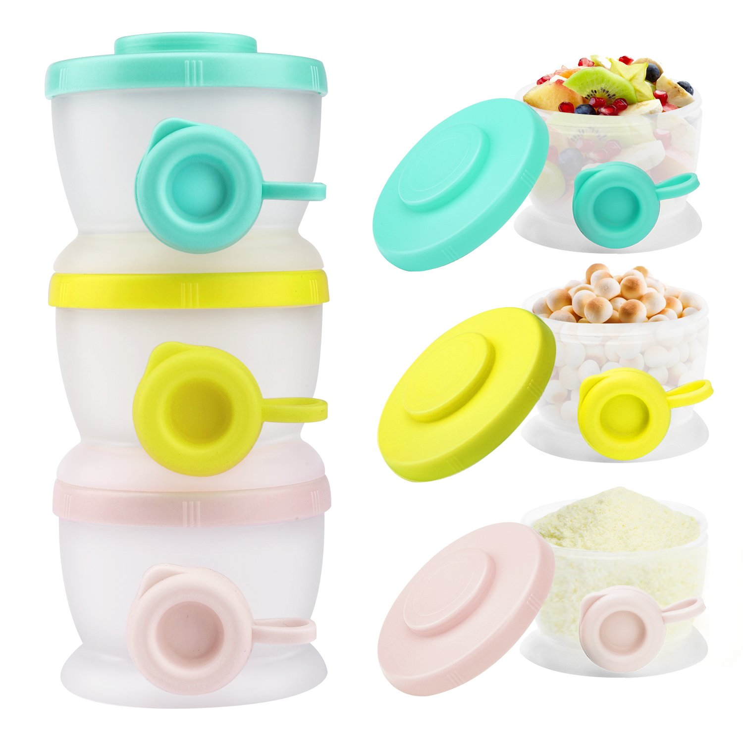 Zooawa Baby Formula Dispenser, Non-Spill Stackable Milk Powder Formula Container and Snack Storage for Travel, BPA Free, 3 Compartment, Light Color