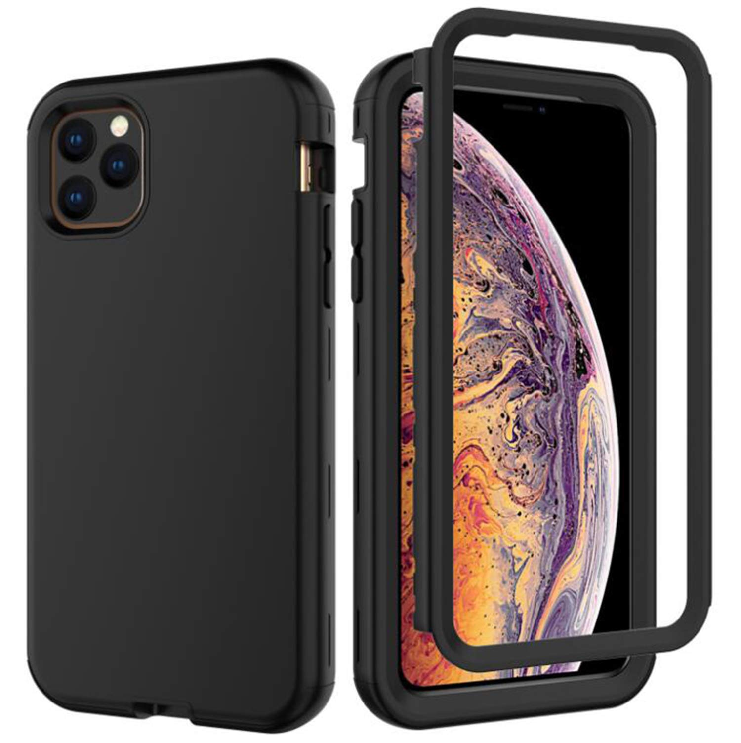 RANYOK Compatible iPhone 11 Pro Silicone Case, 360 Full Body Protection 3 in 1 Heavy Duty Defender Armor Rugged Hard PC Bumper Back Cover (5.8 inch) (Black)