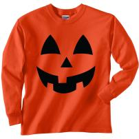 Youth Jack-O-Lantern Halloween Long Sleeve T-Shirt in Orange
