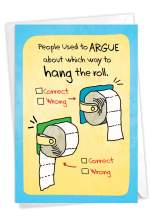 NobleWorks - Funny Card for Birthdays - Quarantine Humor, Happy Bday Notecard with Envelope - Hang The Roll C3707BDG