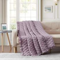 "Bourina Quilted Throw Blanket with Ruffles Pre-Washed Microfiber Ultra Soft Cozy Lightweight for Couch Bed Sofa Throw Blankets,Purple,60""x80"""