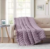 """Bourina Quilted Throw Blanket with Ruffles Pre-Washed Microfiber Ultra Soft Cozy Lightweight for Couch Bed Sofa Throw Blankets,Purple,60""""x80"""""""