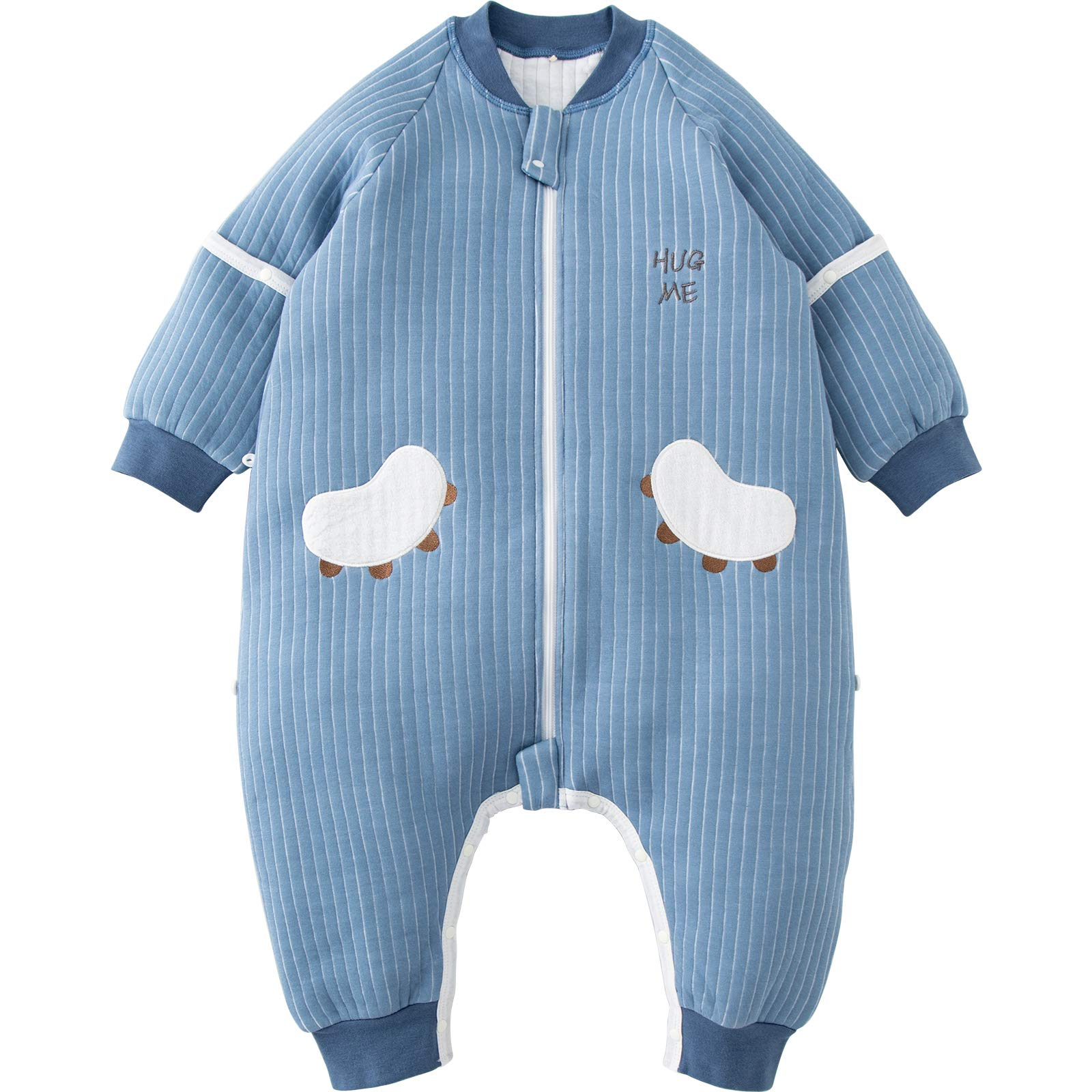 DuoMiaoMiao Baby Sleeping Bag with Legs, Sleepsack with Feet, 100% Cotton Baby Wearable Blankets with Removable Half Sleeves, Length 85 cm, for Baby Toddler 1.5-2 Years, 1.0 TOG Sleeping Bags, Blue