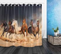 LB Western Horse Shower Curtain Masculine Stallion Horses Run in Farm Filed Animal Decor Shower Curtain Set with Hooks,Waterproof Fabric 72x72 Inch