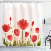 "Ambesonne Floral Shower Curtain, Romantic Tulip Bloom Flower Meadow Fresh Feminine Buds Watercolor Effect, Cloth Fabric Bathroom Decor Set with Hooks, 84"" Long Extra, Vermilion Peach"