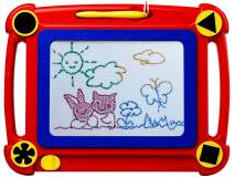 ikidsislands IKS95R Colorful Magnetic Drawing Board for Kids & Toddlers, Girls & Boys, with 4 Stamps and 1 Pen ( Portable, Erasable, Non-Toxic, No Mess Toy, Red Color )