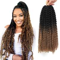 """7 Packs Passion Twist Hair 18 Inch Long Ombre Bohemian Water Wave For Crochet Braiding Hair Curly Crochet Hair Braids Synthetic Hair Extensions (18""""7pcs, T1B27)"""