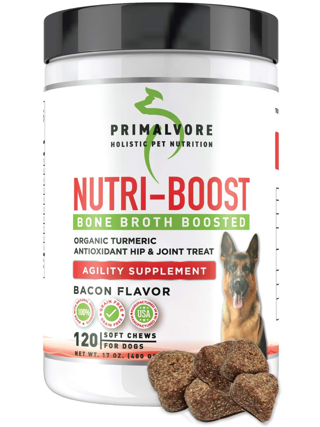 Primalvore Dog Joint Arthritis Pain Relief Supplement - with Yucca Schidigera, Cod Liver Oil, PurforMSM, Glucosamine HCL and Chondroitin Sulfate Increases Overall Activity in Dogs