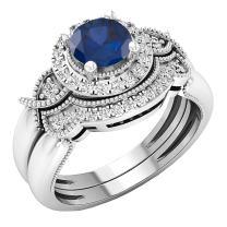 Dazzlingrock Collection 10K 6 MM Round Gemstone & White Diamond Ladies Bridal Halo Engagement Ring Set, White Gold