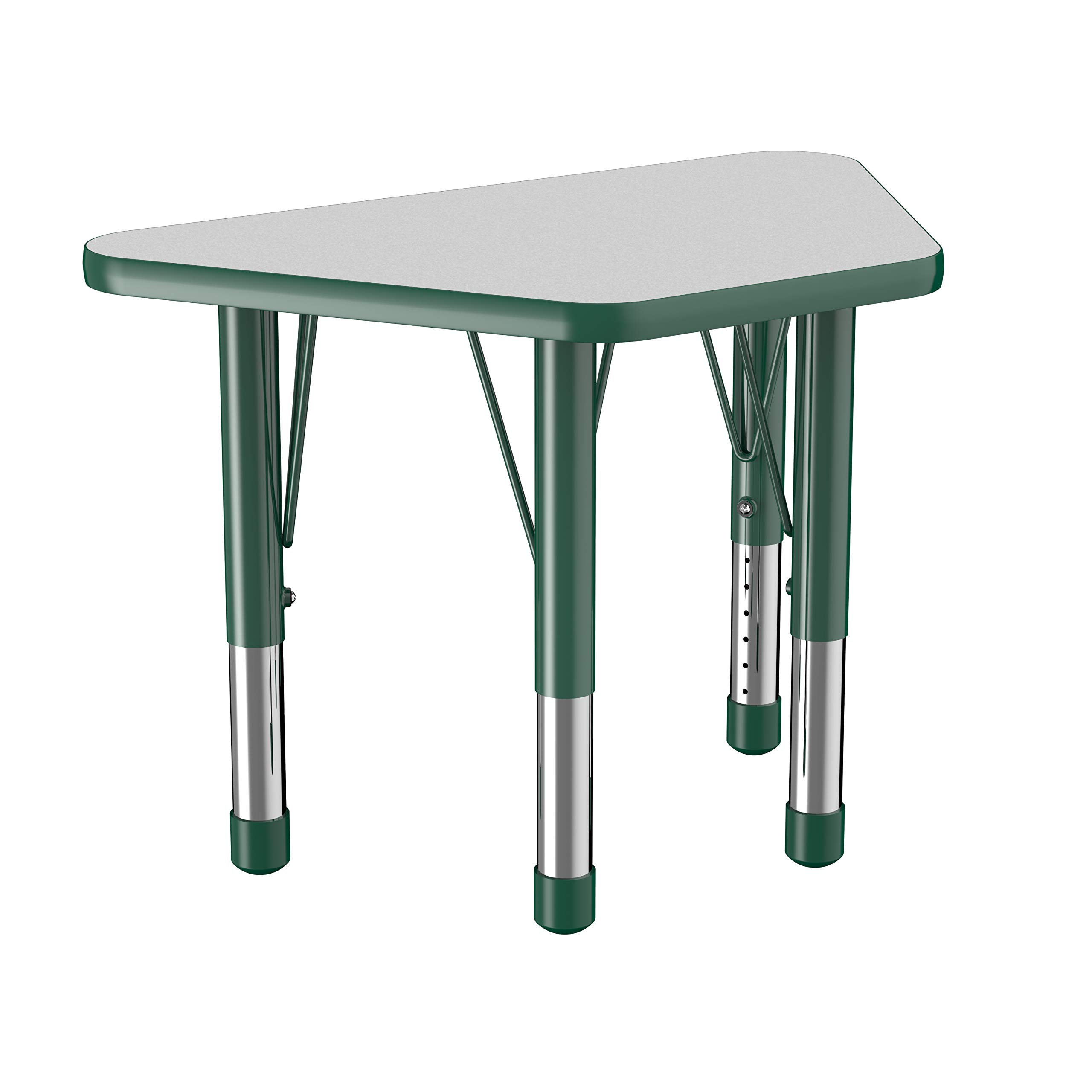 FDP Trapezoid Activity School and Classroom Kids Table (18 x 30 inch), Toddler Legs for Collaborative Seating Environments, Adjustable Height 15-24 inches - Gray Top and Green Edge