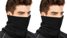 Peach Couture Thick Knit One Hole Facemask Balaclava Snowboarding Biker Mask (2 Black)