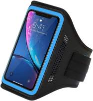 LOVPHONE iPhone 11 Pro Max/iPhone 11 Pro/iPhone 11/iPhone Xs Max/iPhone XR Armband, Water Resistant Sport Running Cell Phone Case with Key Holder and Card Slot for Walking,Hiking,Biking (Bule)