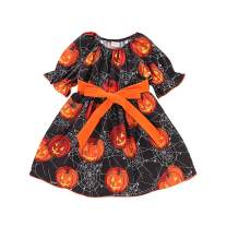 Baby Girl Halloween Dress Kids Girl Pumpkin Spider Skirts with Belt Halloween Day Clothes