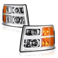 VIPMOTOZ Neon Tube Projector Headlight Assembly For 2007-2013 Chevy Silverado 1500 2500HD 3500HD - Metallic Chrome Housing, Driver and Passenger Side