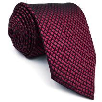 S&W SHLAX&WING Necktie Solid Color Red Crimson Mens Tie Silk Wedding