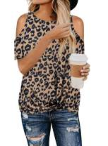 BLENCOT Women's Leopard Print Short Sleeve Cold Shoulder Tops Twist Casual Loose Blouse Shirts