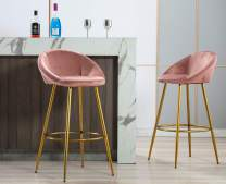 """Kmax Lovely 30"""" Velvet Bar Stools Set of 2 with Gold Metal Legs, Mid Century Modern Bar Stools Low Back for Kitchen Island Home Pub-Dusty Pink"""