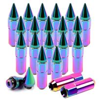ECCPP Replacement for Wheel Lug Nuts M12X1.5 Cap Spiked Extended Tuner 60mm Aluminum Lug Nut 20pcs (Multicolor)
