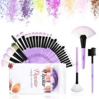 Makeup Brush Set, Kabuki Face Liquid Powder Cream Concealers Highlight Brushes Eyeshadow Eyeliner Eyebrow 32pcs Set Purple Cosmetic Brushes Kits with Case