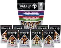 Power Up Trail Mix Variety 8 Pack, Non-GMO, Vegan, Gluten Free, 4 Flavors (Mega Omega, Protein Packed, Antioxidant, Almond Cranberry Crunch), Pack of 8, 18 oz Bag