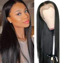 Ali panda Straight Lace Front Human Hair Wigs 13x4x0.5 T Shape Middle Part 150% Density Brazilian Lace Frontal Wigs for Black Women (16inch, Natural Color)